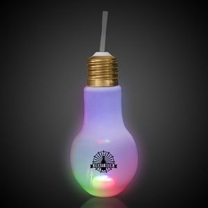 16oz LED Light Bulb Cup with Straw