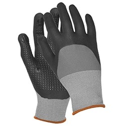 N300 Gray Nylon Nitrile Smooth Finish Coated Gloves w/ Micro Dots (Medium)